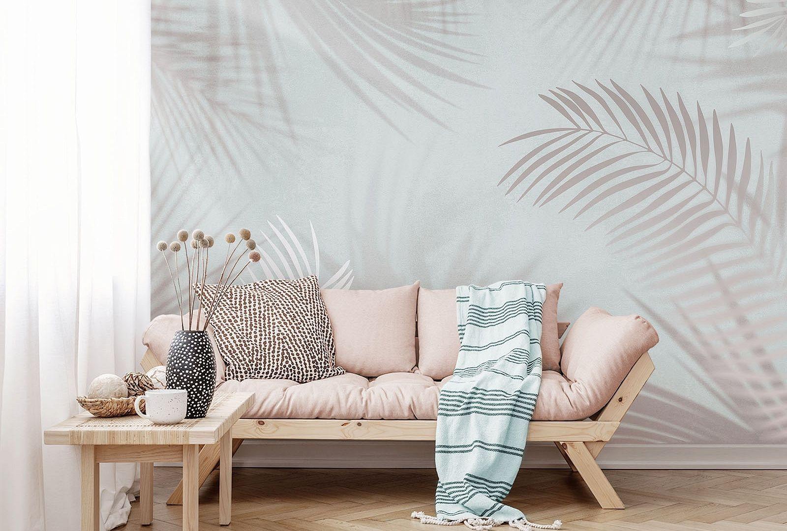 Эко-обои с пальмовыми листьями | Идеи домашнего декора, Интерьер, Фотообои